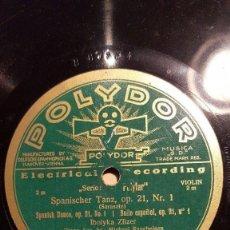 Discos de pizarra: DISCO 78 RPM - POLYDOR - IBOLYKA ZILZER - VIOLIN - HUNGARO - SARASATE - SPANISCHER TANZ - PIZARRA. Lote 156203186