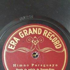 Discos de pizarra: DISCO 78 RPM - ERA GRAND RECORD - BANDA DE POLICIA - HIMNO PARAGUAYO - MARCHA BRASIL - PIZARRA. Lote 156208670