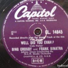 Discos de pizarra: BING CROSBY-FRANK SINATRA - WELL DID YOU EVAH ? / BING CROSBY-GRACE KELLY - TRUE LOVE-CAPITOL 14645.. Lote 156779370