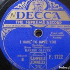 Discos de pizarra: BARRIE OLIVER-MOANIN' FOR YOU / I HAVE TO HAVE YOU SELLO DECCA 10''. Lote 156780378