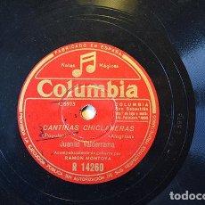 Discos de pizarra: JUANITO VALDERRAMA – CANTIÑAS CHICLANERAS / LA FERIA DE OSUNA, 1948 - RAMÓN MONTOYA, ROMÁN GRANAÍNO. Lote 156904434
