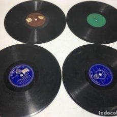 Discos de pizarra: 4 ANTIGUOS DISCOS DE PIZARRA GRAMOFONO GRAMOLA. Lote 156906910