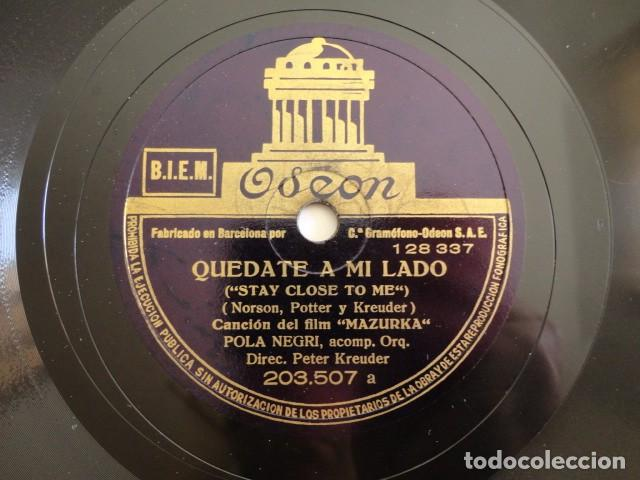 POLA NEGRI - FILM MAZURKA -STAY CLOSE TO ME / FOR THAT ONE HOUR OF PASSION - ODEON 203.507 (Música - Discos - Pizarra - Bandas Sonoras y Actores )