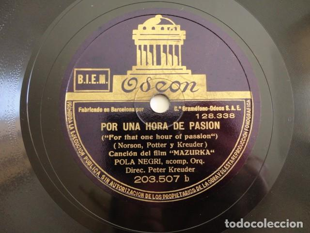Discos de pizarra: Pola Negri - Film Mazurka -Stay close to me / For that one hour of passion - Odeon 203.507 - Foto 2 - 158143010