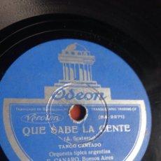 Discos de pizarra: QUE SABE LA GENTE TANGO CANTADO. Lote 158261109