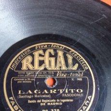 Discos de pizarra: LAGARTITO BANDA DEL REGIMIENTO DE INGENIEROS. Lote 158264213