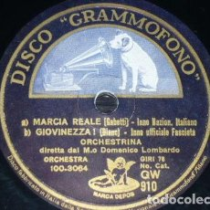 Discos de pizarra: DISCO 78 RPM - GRAMOFONO - ORCHESTRINA - DOMENICO LOMBARDO - HIMNO - FASCISTA - ITALIA - PIZARRA. Lote 158509938