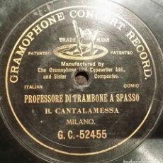 Discos de pizarra: DISCO 78 RPM - G&T BLACK - BERARDO CANTALAMESSA - PROFESSORE DI TRAMBONE A SPASSO - PIZARRA. Lote 158513354