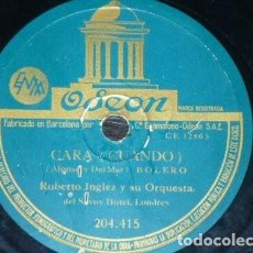 Discos de pizarra: DISCO 78 RPM - ODEON - ROBERTO INGLEZ - ORQUESTA - O MAMA MAMA - SAMBA - CARA - BOLERO - PIZARRA. Lote 158519162