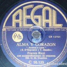 Discos de pizarra: DISCO 78 RPM - REGAL - FRANCO RICCI - ORQUESTA - ALMA Y CORAZON - ENAMORADA MIA - PIZARRA. Lote 158670598