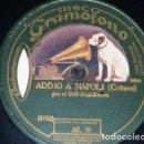 Discos de pizarra: DISCO 78 RPM - GRAMOFONO - TRIO NAPOLITANO - ADDIO A NAPOLI - COTTRAU - MELODIA - LALO - PIZARRA. Lote 158673358