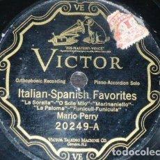 Discos de pizarra: DISCO 78 RPM - VICTOR - MARIO PERRY - PIANO & ACORDEON - ITALIAN SPANISH FAVORITES - PIZARRA. Lote 158674782