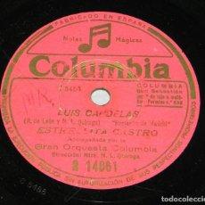 Discos de pizarra: DISCO DE PIZARRA DE ESTRELLITA, CASTRO LUIS CANDELAS Y LA CHIQUITA PICONERA, ED. COLUMBIA R14061, PI. Lote 159046542