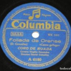Discos de pizarra: DISCO DE PIZARRA DE FOLIADA DE ORENSE / POLIZON A BORDO. NEGRA SOMBRA. CORO DE RUADA. GALICIA. GALLE. Lote 159048994