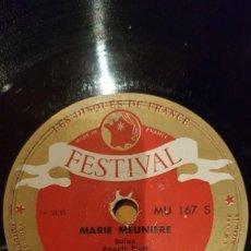 Discos de pizarra: DISCO 78 RPM - FESTIVAL - LOUIS FERRARI - ACORDEON - MARIE MEUNIERE - DOCE CASCABELES - PIZARRA. Lote 159111538