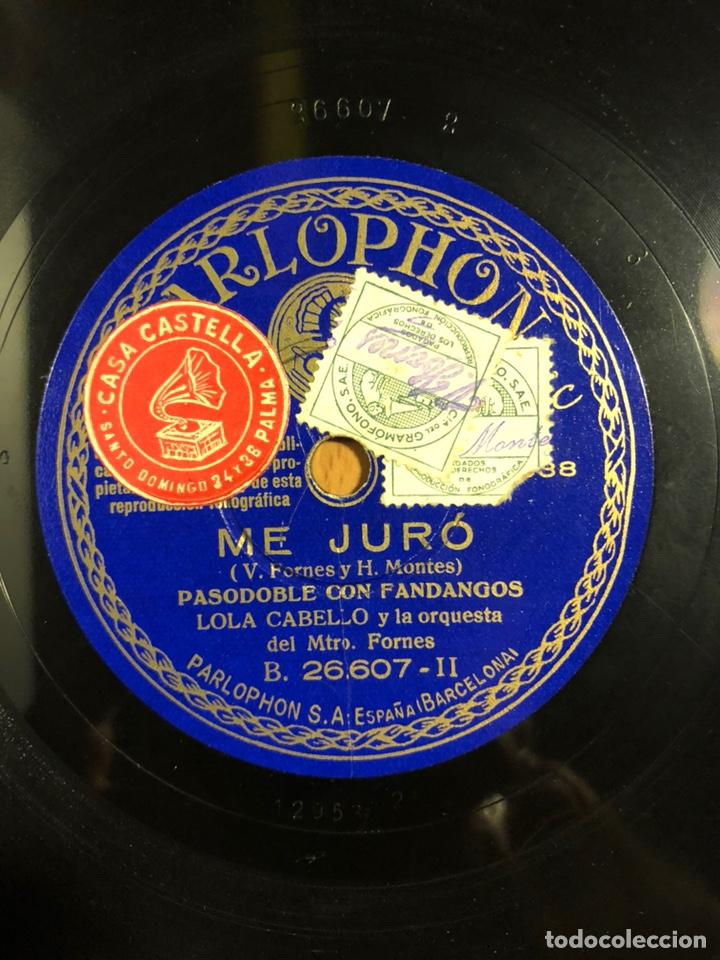 DISCO PIZARRA COLUMBIA LOLA CABELLO.ME JURO.MI PASODOBLE (Música - Discos - Pizarra - Flamenco, Canción española y Cuplé)