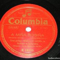 Discos de pizarra: DISCO DE PIZARRA CORAL GALLEGA ROSALIA DE CASTRO, A MIÑA ROSIÑA / PARA CALO CORAZON, R 18319, LE FAL. Lote 159178262