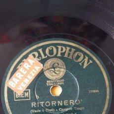 Discos de pizarra: DISCO 78 RPM - PARLOPHON - DINO DI LUCA - ORQUESTA CETRA - RICCIOLINA - RITORNERO - TANGO - PIZARRA. Lote 159195514