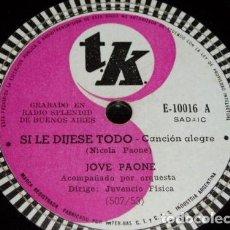 Discos de pizarra: DISCO 78 RPM - TK - JOVE PAONE - ORQUESTA - CANCION ALEGRE - NICOLA PAONE - TARANTELA - PIZARRA. Lote 159200630