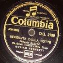 Discos de pizarra: DISCO 78 RPM - COLUMBIA - MYRIAM FERRETTI - FILM - PARTIRE... - FOX - SERENATA DELLA NOTTE - PIZARRA. Lote 159229342