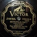 Discos de pizarra: 2 DISCOS 78 RPM - VICTOR - PAUL WHITEMAN - CONCERT ORCHESTRA - METROPOLIS - GOFRE - PIZARRA. Lote 159235698
