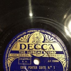 Discos de pizarra: 2 DISCOS 78 RPM - DECCA - LOUIS LEVY - MUSIC FROM THE MOVIES - COLE PORTER SUITE - JAZZ - PIZARRA. Lote 159247734