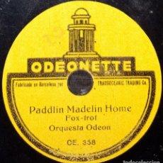Discos de pizarra: DISCO 78 RPM - ODEONETTE 15 CM - ORQUESTA ODEON - PADDLIN MADELIN HOME - REMEMBER - PIZARRA. Lote 159258294