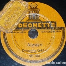 Discos de pizarra: DISCO 78 RPM - ODEONETTE 17´5 CM - ORQUESTA ODEON - ALWAYS - I NEVER KNEW - JAZZ - PIZARRA. Lote 159271970