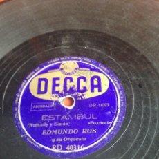 Discos de pizarra: ESTAMBUL EDMUNDO ROS. Lote 159389397
