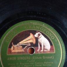 Discos de pizarra: AMOR SINCERO ELISEO GRENET. Lote 160152474