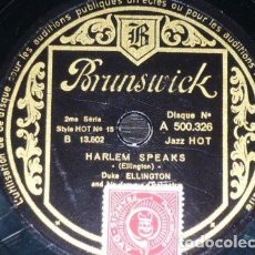 Discos de pizarra: DISCO 78 RPM - BRUNSWICK - DUKE ELLINGTON - ORQUESTA - JAZZ HOT - HARLEM SPEAKS - PIZARRA. Lote 161082582