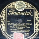 Discos de pizarra: DISCO 78 RPM - BRUNSWICK - LEW WHITE - ORGANO - A LA LUZ DE LA LUNA EN TEJAS - FILM - JAZZ - PIZARRA. Lote 161085618