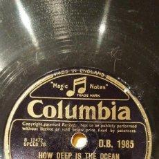 Discos de pizarra: DISCO 78 RPM - COLUMBIA - BING CROSBY - ORQUESTA - HOW DEEP IS THE OCEAN - BERLIN - JAZZ - PIZARRA. Lote 161347462