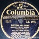 Discos de pizarra: DISCO 78 RPM - COLUMBIA - DINAH SHORE - ORQUESTA - ALL MY LOVE - BUTTONS AND BOWS - JAZZ - PIZARRA. Lote 161618218