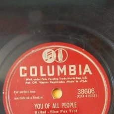 Discos de pizarra: DISCO 78 RPM - COLUMBIA - DUKE ELLINGTON - ORQUESTA - YOU OF ALL PEOPLE - FOXTROT - PIZARRA. Lote 161622618