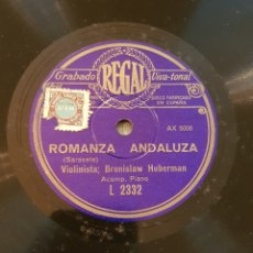 Discos de pizarra: ROMANZA ANDALUZA SARASATE DISCO DE PIZARRA MAZURKA ZARZYCHI. Lote 161762426