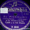 Discos de pizarra: DISCO 78 RPM - COLUMBIA - TEJADA - GRAN ORQUESTA - FILM - EL SOMBRERO DE COPA - ESPAÑA - PIZARRA. Lote 161920346