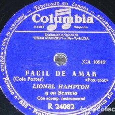 Discos de pizarra: DISCO 78 RPM - COLUMBIA - LIONEL HAMPTON - FACIL DE AMAR - QUISIERA SABERLO - FOXTROT - PIZARRA. Lote 161927546