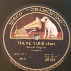 Discos de pizarra: ANDRES SEGOVIA - GAVOTTE - TENE VARIE ( SOR ) DISCO PIZARRA 78 RPM. Lote 161976486