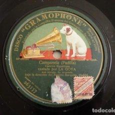 Discos de pizarra: LA GOYA - CAMPANELA, CANCIÓN NAPOLITANA (PADILLA) - GRAMOPHONE 263157. Lote 162139358