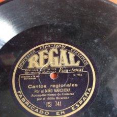 Discos de pizarra: CANTOS REGIONALES POR EL NIÑO MARCHENA. Lote 162768420