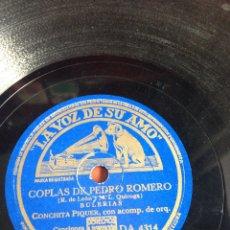 Discos de pizarra: COPLAS DE PEDRO ROMERO CONCHITA PIQUER. Lote 162769061