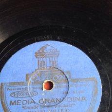 Discos de pizarra: MEDIA GRANADINA MANUEL VALLEJO. Lote 162920390