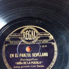 Discos de pizarra: EN EL PARQUE SEVILLANO NIÑA DE LA PUEBLA. Lote 162921785