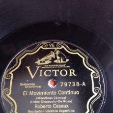 Discos de pizarra: EL MOVIMIENTO CONTINUO ROBERTO CASAUX. Lote 162923072