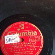 Discos de pizarra: CASTAÑUELA GRACIA DE TRIANA. Lote 162947130