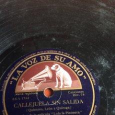 Discos de pizarra: CALLEJUELA SIN SALIDA JUANITA REINA. Lote 162950490