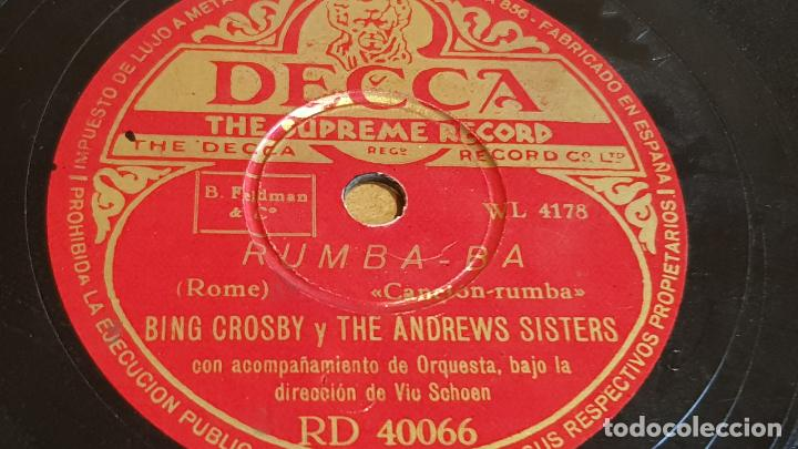 PIZARRA !! BING CROSBY Y THE ANDREW SISTERS / RUMBA-BA / DECCA - 25 CM (Música - Discos - Pizarra - Otros estilos)