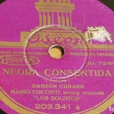 Discos de pizarra: PIZARRA !! MARIO VISCONTI CON LOS BOLIVIOS / NEGRA CONSENTIDA / ODEON - 25 CM.. Lote 163342234