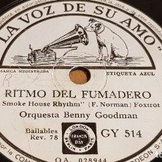 Discos de pizarra: PIZARRA !! ORQUESTA BENNY GOODMAN / RITMO DEL FUMADERO / LA VOZ DE SU AMO - 25 CM.. Lote 163346474